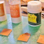 レザー染色用仕上げ剤レザーフィックスとレザーコートの違いを実験